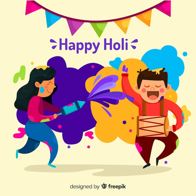 People having fun in holi festival background Free Vector