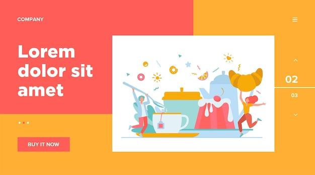 Люди веселятся на чаепитии. мультфильм мужчины и женщины, наслаждаясь горячим напитком, печеньем, круассаном, десертом. векторная иллюстрация для кофе-брейка, пекарни, сахара, концепции меню Бесплатные векторы