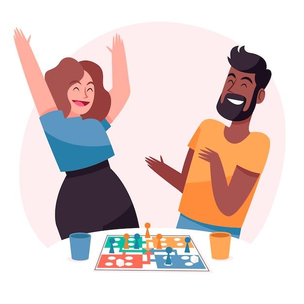 Persone che si divertono a giocare a ludo Vettore gratuito