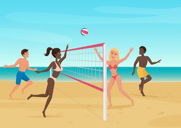 People having fun playing volleyball on the beach illustration. active seabeach sport. Premium Vector