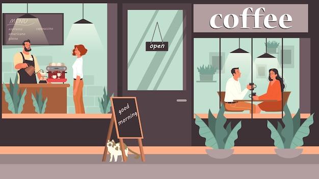 Люди обедают в кафе. женские и мужские персонажи пьют кофе в кафе. деловая встреча и романтическое свидание в кафе, интерьере кафетерия. Premium векторы