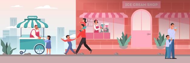 Люди обедают в кафе. женские и мужские персонажи пьют кофе Premium векторы