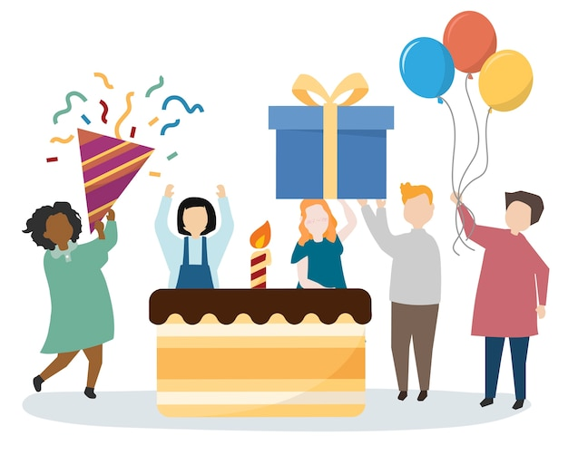 People having a party celebration Free Vector