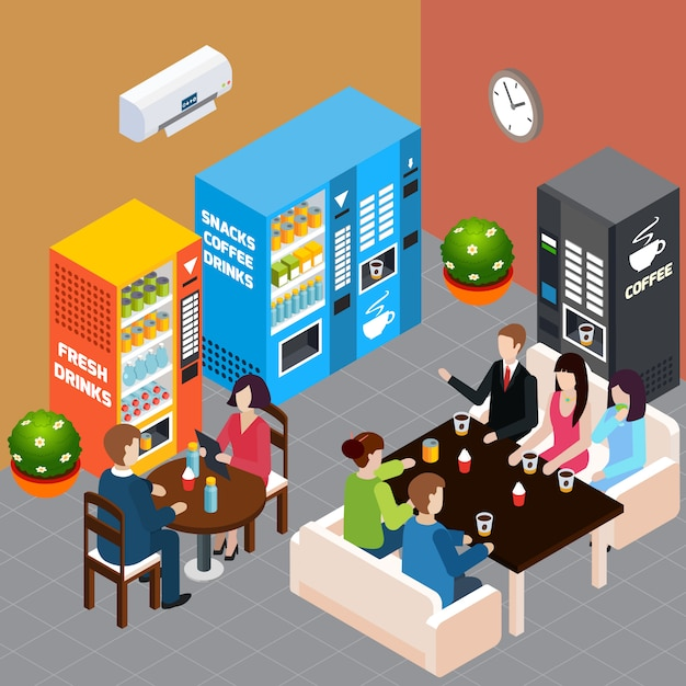 People having rest at cafe with vending machines selling hot coffee soft drinks and snacks 3d isometric vector illustration Free Vector