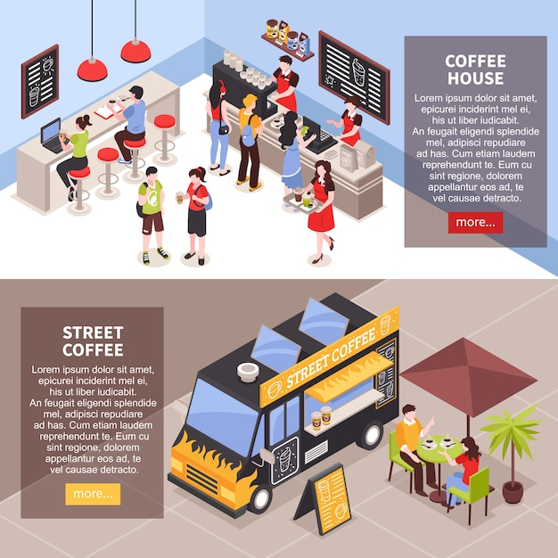 People having snack in coffee house indoors and outdoors isometric banners set 3d isolated Free Vector