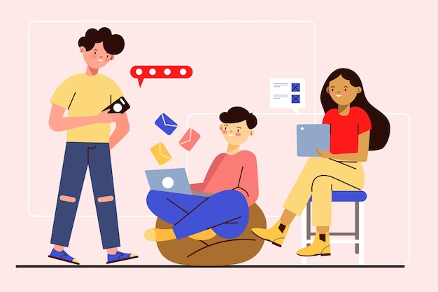 People having technology devices Free Vector