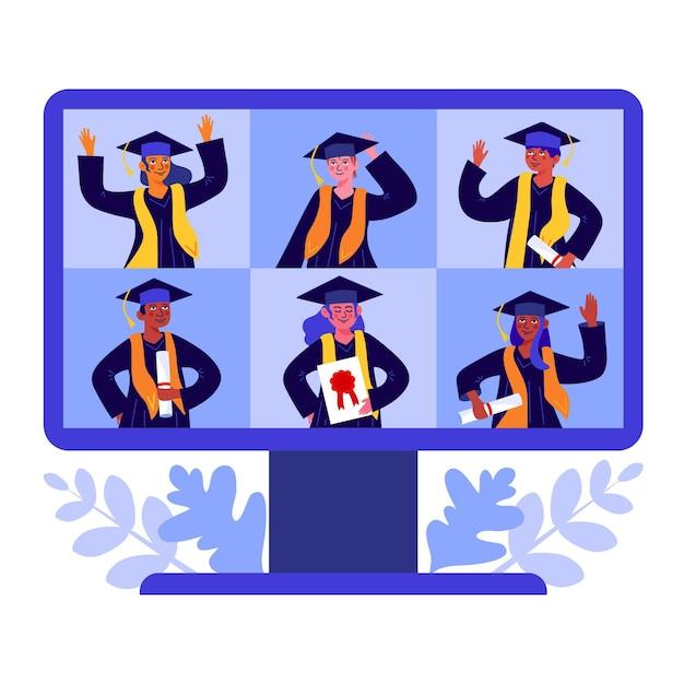 Люди, иллюстрирующие свою церемонию вручения дипломов Бесплатные векторы
