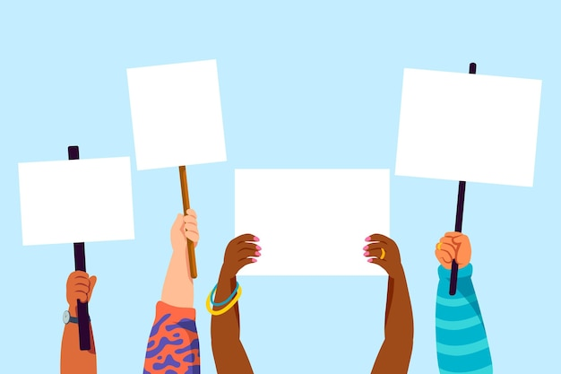 People having theirs arms raised with empty placards Free Vector