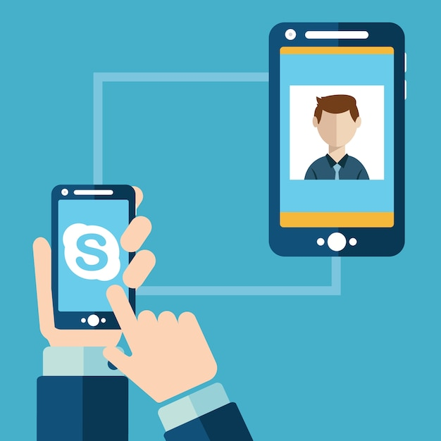 People having video chat via skype Premium Vector
