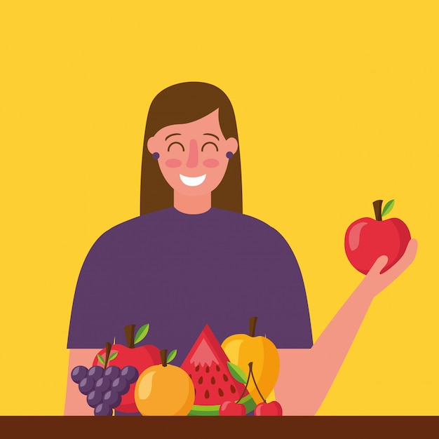Люди здоровой пищи Бесплатные векторы