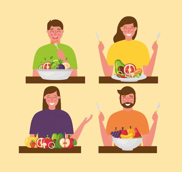 사람들이 건강에 좋은 음식 무료 벡터