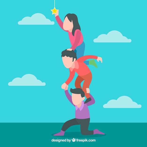 Helping Each Other: People Helping Each Other Wiht Flat Design Vector