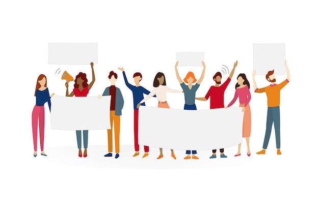 Люди держат знамя. группа персонажей с пустой пустой доской для сообщения. рекламная концепция. иллюстрация в мультяшном стиле Premium векторы