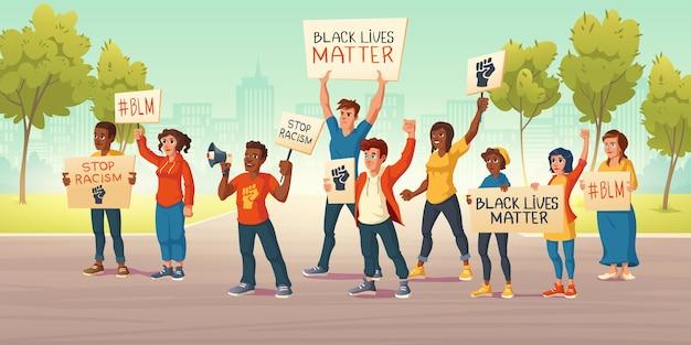 사람들은 도시 거리에서 검은 생명 문제와 주먹으로 배너를 들고 있습니다. 인종 차별에 대한 항의 시위의 벡터 만화 그림. 백인과 아프리카 계 미국인 활동가들이 인권을 위해 행동합니다 무료 벡터