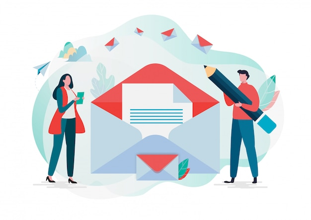 People hold mail. new email message. Premium Vector