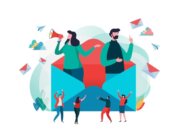 People hold mail. Premium Vector