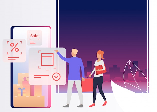 People holding bags and shopping online Free Vector