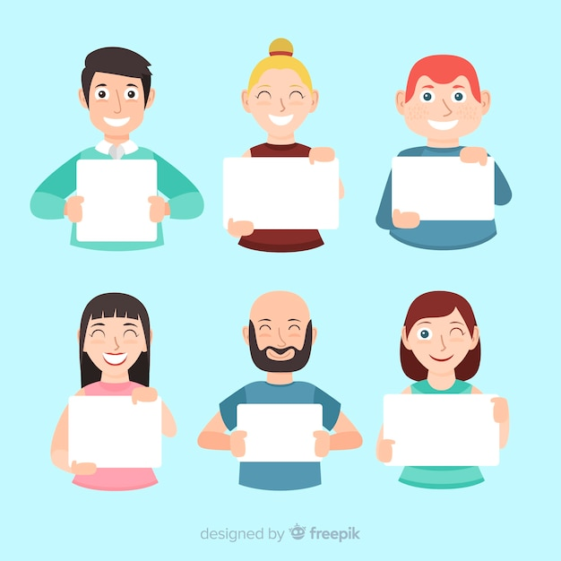 People holding banner Free Vector