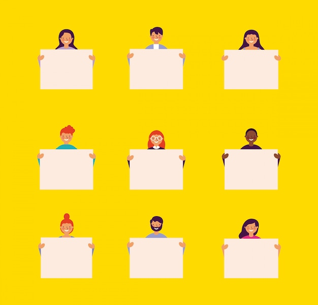 People holding banners Free Vector