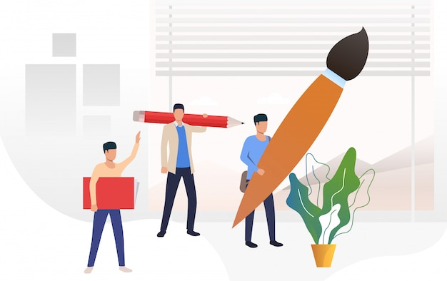 People holding big paint brush, pencil and textbook Free Vector