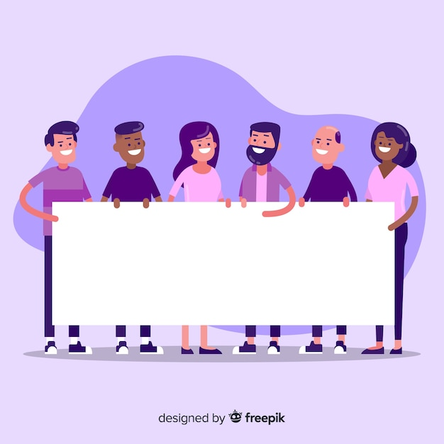 People holding blank banner Free Vector