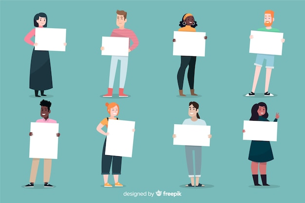 People holding blank placard collectio Free Vector