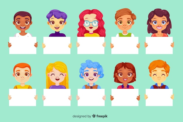 People holding clean placards Free Vector