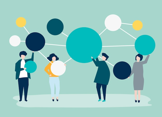 People holding connected copy space circle icons Free Vector