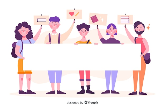 People holding empty banners illustrated Free Vector