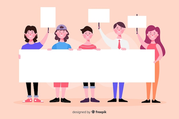 People holding empty banners Free Vector