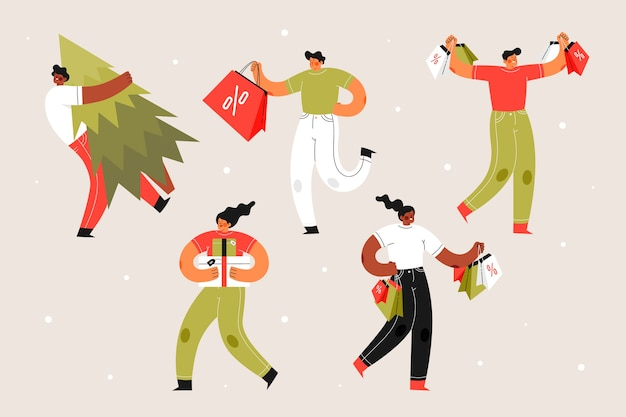 People holding gift boxes and trees Free Vector