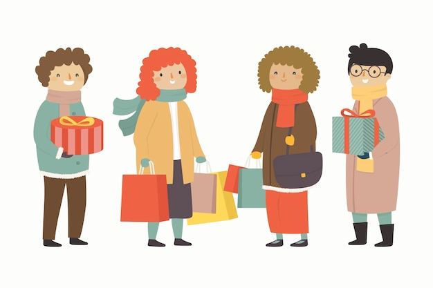 People holding gifts winter season background Free Vector