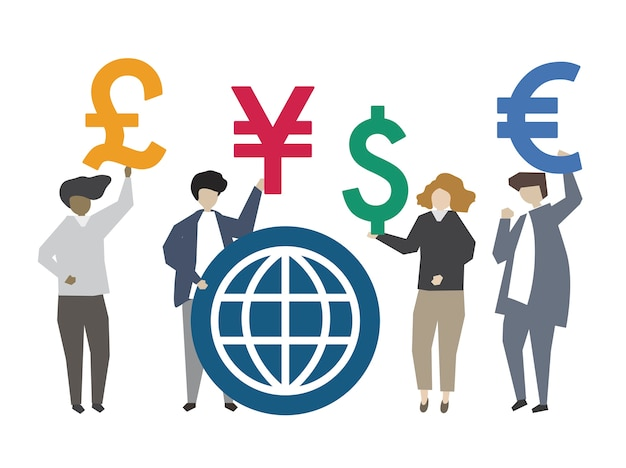 People holding global currency symbol illustration Free Vector