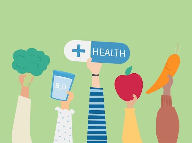 People holding health symbols illustration Free Vector