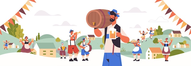 People holding mugs and playing musical instruments celebrating beer festival Premium Vector