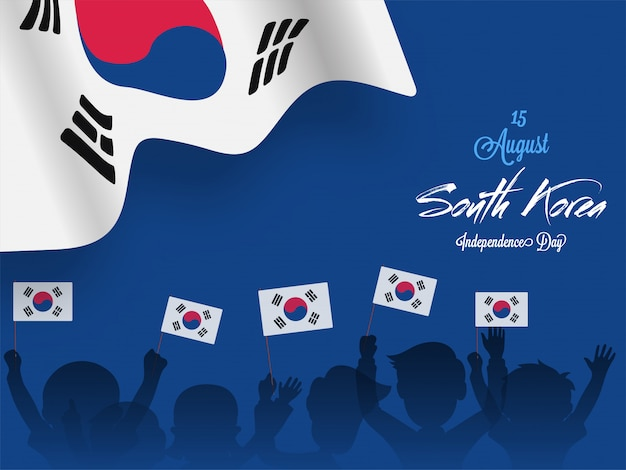 People holding national flags of south korea Premium Vector