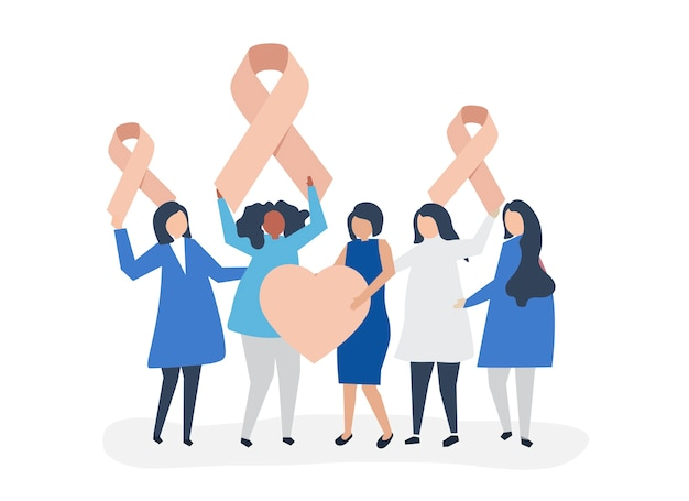 People holding pink ribbons Free Vector