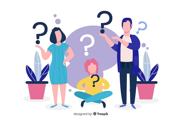 People holding question marks background Free Vector