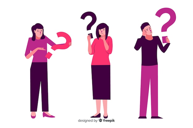 People holding question marks Free Vector