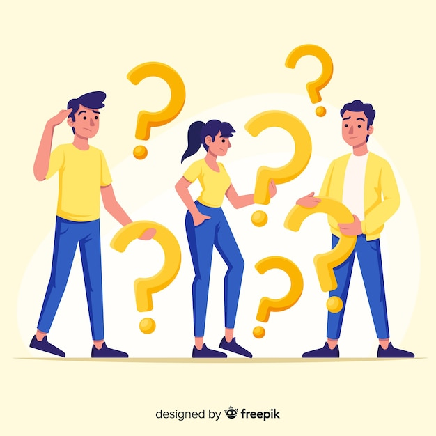 People holding question marks Premium Vector
