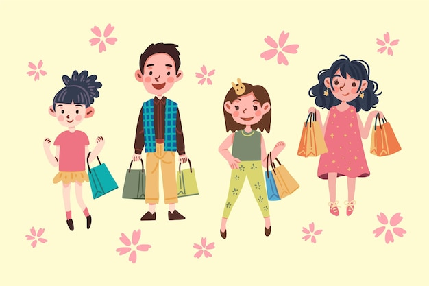 People holding shopping bags Free Vector