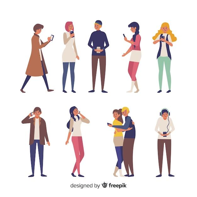 People holding smartphones Free Vector