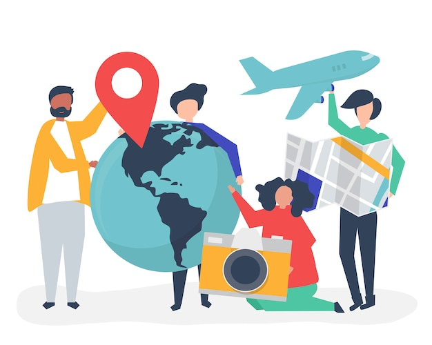 People holding travel related icons Free Vector