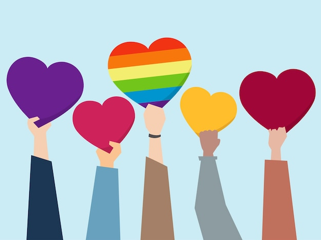 People holding up hearts illustration Free Vector