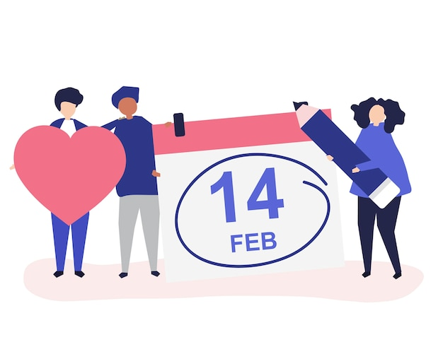 People holding valentine's day concept icons illustration Free Vector