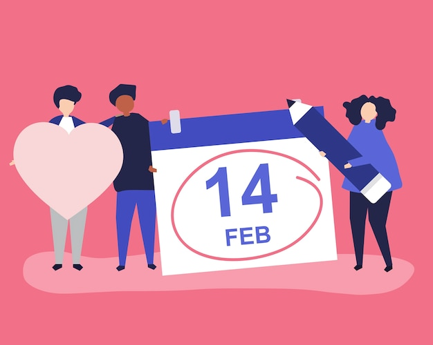 People holding valentine's day concept Free Vector
