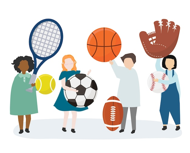People holding a variety of sports equipment Free Vector