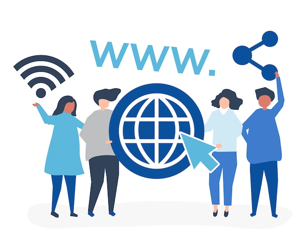 People holding world wide web icons Free Vector
