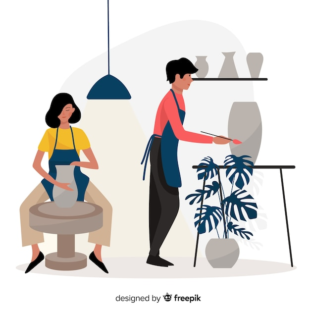 People at home making pottery Free Vector