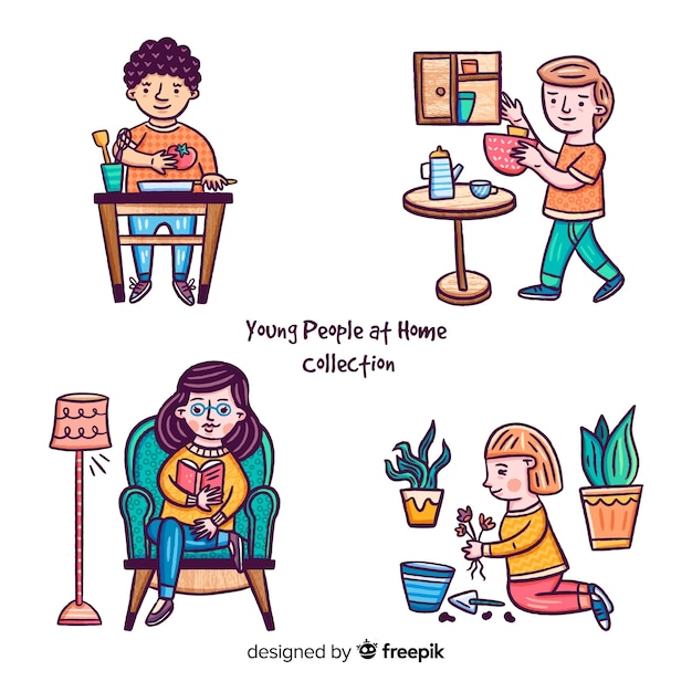 People at home Free Vector